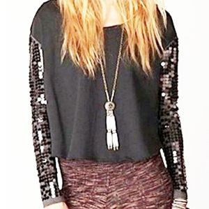 """Free People """"Charcoal"""" Grey Sequined Sleeve Top"""